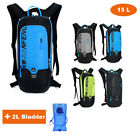 NEW 15L Cycling Bicycle Backpack Mountain Bike Sports Hiking + 2L Water Bladder