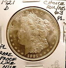 1921-D MORGAN SILVE DOLLAR CHOICE BU/MS, CAMEO PROOF-LIKE, RARE, NICE SHARP B512
