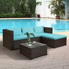 5 PCS Outdoor Patio Furniture Set Rattan Sectional Garden Furniture Wicker Sofa