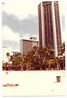 Vintage 80s PHOTO Small Figure Lone Sunbather On Hawaii Beach w/ Hotels