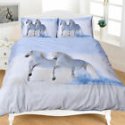 WHITE Horse 3D photographic printed duvet QUILT cover set With Pillow Case