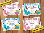 Boy's & Girls Birthday Pool Party Invitations Pink / Blue Thank You Cards