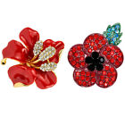 Poppy Vintage Brooch Red Crystal Flower Badge Pins Poppies Brooches