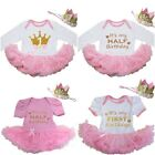Baby First Halft Birthday Pink Bodysuit Tutu & Princess Crown Headband