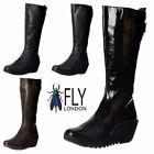 Womens Fly London YOA Knee High Leather Winter Boot Low Wedge Cleated Sole Size