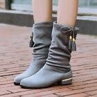Plus Sz Women's Faux Suede Mid Calf Boots Low Heel Riding Dress Shoes Pull On A6