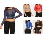 WOMENS LADIES PARTY SHEER PLAIN MESH LONG SLEEVE SEE THROUGH STRETCH CROP TOP