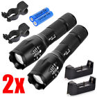 2xTactical 15000LM XM-L T6 5Modes Zoom Outdoor 18650 Flashlight Torch &Charger