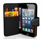 BLACK PU Leather Wallet Magnetic Flip  Cover For Apple iPhone 4s ,iphone 7 (UK)