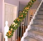 Lit 1.8m Gold Luxury Stairs Fireplace Christmas Garland 6ft 40 Warm White Lights