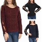 Womens Ladies Cable Knitted Long Cut Out Sleeves Shiny Lurex Jumper Top