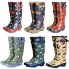 Ladies Girls Flat Wellie Wellington Festival Animals Dogs Chickens Whale Pug