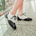 Chic Vintage Womens Wingtip Brogues Lace Up Carved Girls Low Heels Oxford Shoes