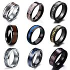 8mm Tungsten Carbide Ring Celtic Dragon Carbon Fibre Mens Wedding Band Jewelry