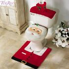 Santa Claus Rug Toilet Seat Cover Bathroom Set Merry Christmas Decorations Home