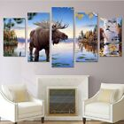 Framed 5 Panels Wild Old Deer Animal Canvas Print Painting Wall Art Home Decor