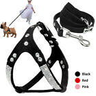 Rhinestone Dog Harness and Leash Set Soft Chihuahua Bling Walking Vest Harness
