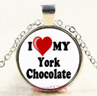 I love my york chocolate Cabochon Silver-Bronze-Black-Gold Glass Necklace #5339