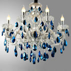 Luxury Silver Finished Blue Crystal Chandelier Ceiling Hanging Lamp Lighting
