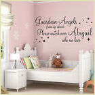 GUARDIAN ANGELS WALL ART STICKERS QUOTES SAYINGS PERSONALISED GIRLS BEDROOM