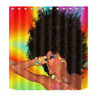 African Woman Afro-hair 180CM Shower Curtain Fabric Polyester Panels hooks Set