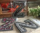 Capital Letter Alphabet Z Rhinestones Sequin Embroidered Iron On Patch Applique