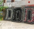 Capital D Alphabet Letter Patch Rhinestones Sequin Embroidered Iron On Applique