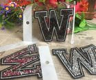 Capital Letter Alphabet W Rhinestones Sequin Embroidered Iron On Patch Applique