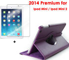 Purple Smart Leather Case For i Pad mini2 with Retina Display+1 Clear Protector