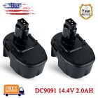 2PCS 2000mAh 14.4V Ni-CD Bttery for DEWALT DC9091 DE9092 DW9091 DE9502 DE9094