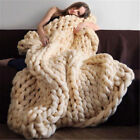 Warm Handmade Chunky Knitted Blanket Wool Thick Line Yarn Soft Throw Decor image
