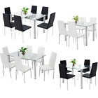 STUNNING GLASS DINING TABLE SET AND 4 OR 6 FAUX LEATHER DINING CHAIR WHITE BLACK