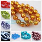 Gold Silver Foil Inside Round Lampwork Glass Spacer Loose Beads 14mm Jewelry DIY