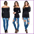 Black Ladies Top off shoulder Bardot Blouse Evening Fitted Womens Stretch Size ❤