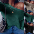 Womens Off Shoulder Chunky Knit Jumper Ladies Oversized Sweater Top Blouse Coat