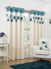 Faux Silk Ready Made Cream + Teal Poppy Flower  Design Ring Top Eyelet Curtains