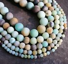 "Amazonite frosted 4mm - 14mm round matt natural beads. 15"" strand.  SP157"