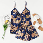 Women Satin Pajama Set Strappy Crop Top Short Sets Blue Floral Print Plus Sizes