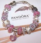 Authentic Pandora Silver Bracelet  Pink/White Hearts Flowers European Charms New