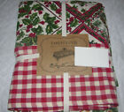 April Cornell HOLLY & BIRDS Red, Green, Black & Ivory Floral Tablecloth --NWT