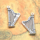 5pcs/lot Harp charm silver tone Musical instrument Charms 20x39x5mm