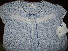 "New XL Eileen West 36"" Short White/Blue/Navy Floral Knit Cotton Night gown"