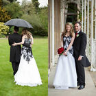 Vintage Wedding Dresses Gothic Applique White and Black A-Line Bridal Gowns Plus