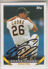 Autographed 1993 Topps Steve Cooke - Pirates