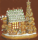 Ceramic Bisque Ready to Paint Gingerbread Scene House, Tree, People, Base& Light