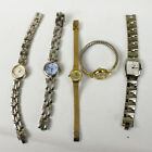 Lot of 5 Ladies Quartz Wristwatches Fossil Helbros Diamond Quartz Timex need Bat