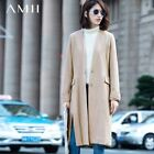Amii Casual Women Woolen Coat 2017 Winter Solid Covered Button V Neck Slits