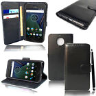 For Motorola Moto G5s Plus XT1803 Genuine Black Leather Wallet Phone Cover Case