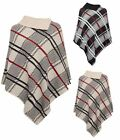 Ladies Checked Knitted Ponchu Women Winter Red Band One Size Cape Wrap Shawl