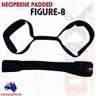 Weight Lifting Fiqure 8 Bar Straps Gym Fitness Training Straps Padded Black - 2X